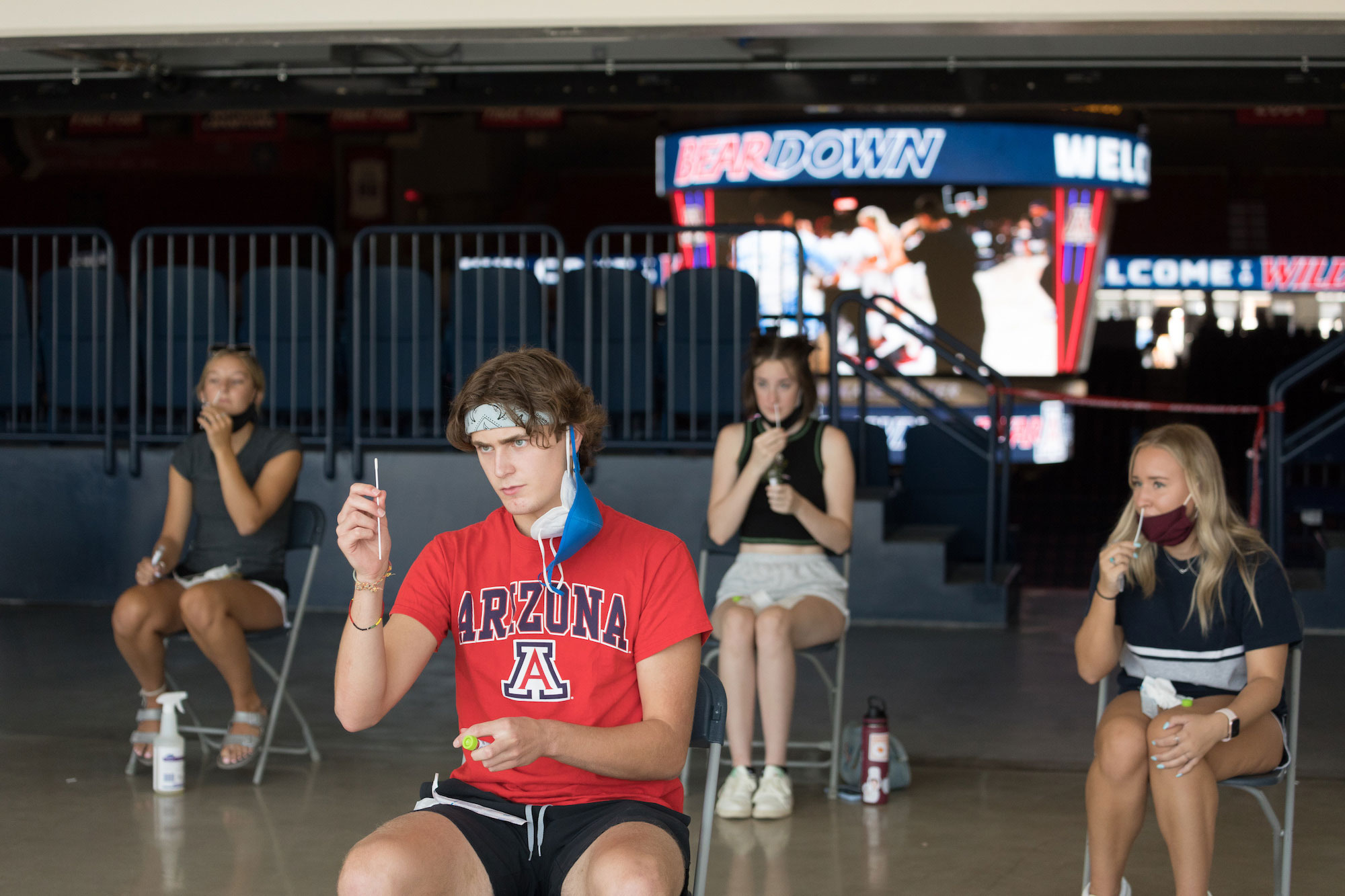 students get covid-19 tests at mckale center