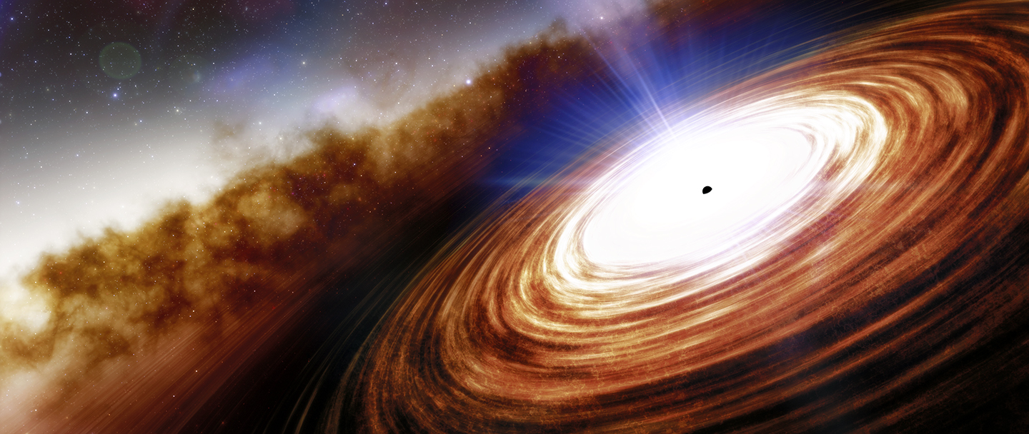 Artist illustration of J0313-1806, the most distant quasar discovered to date.