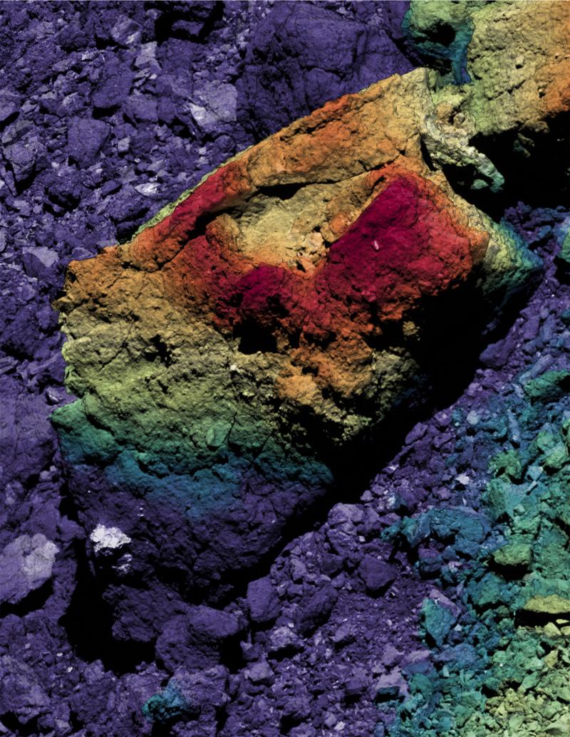 composite image of a boulder on Bennu's surface