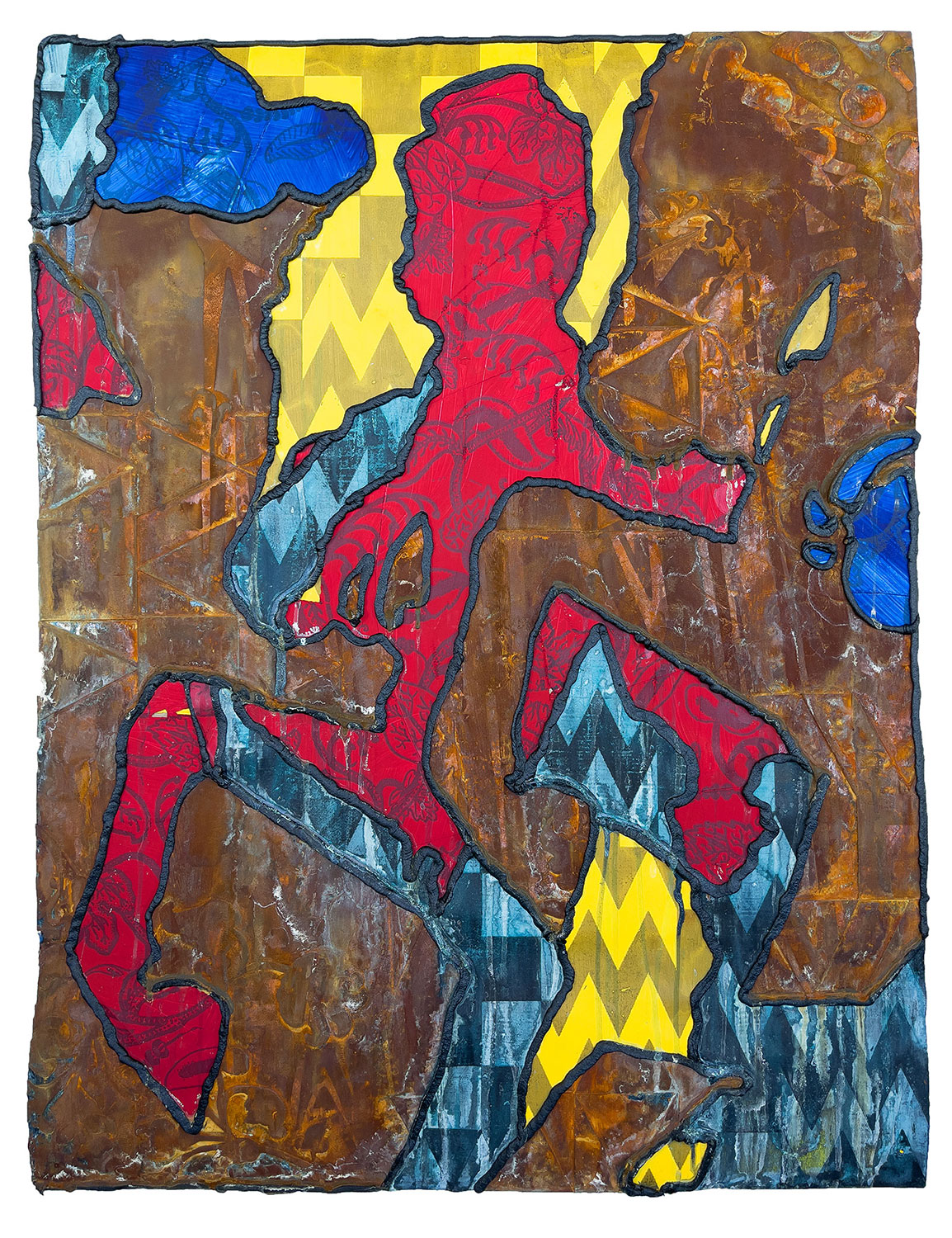 yellow, red, blue and brown print