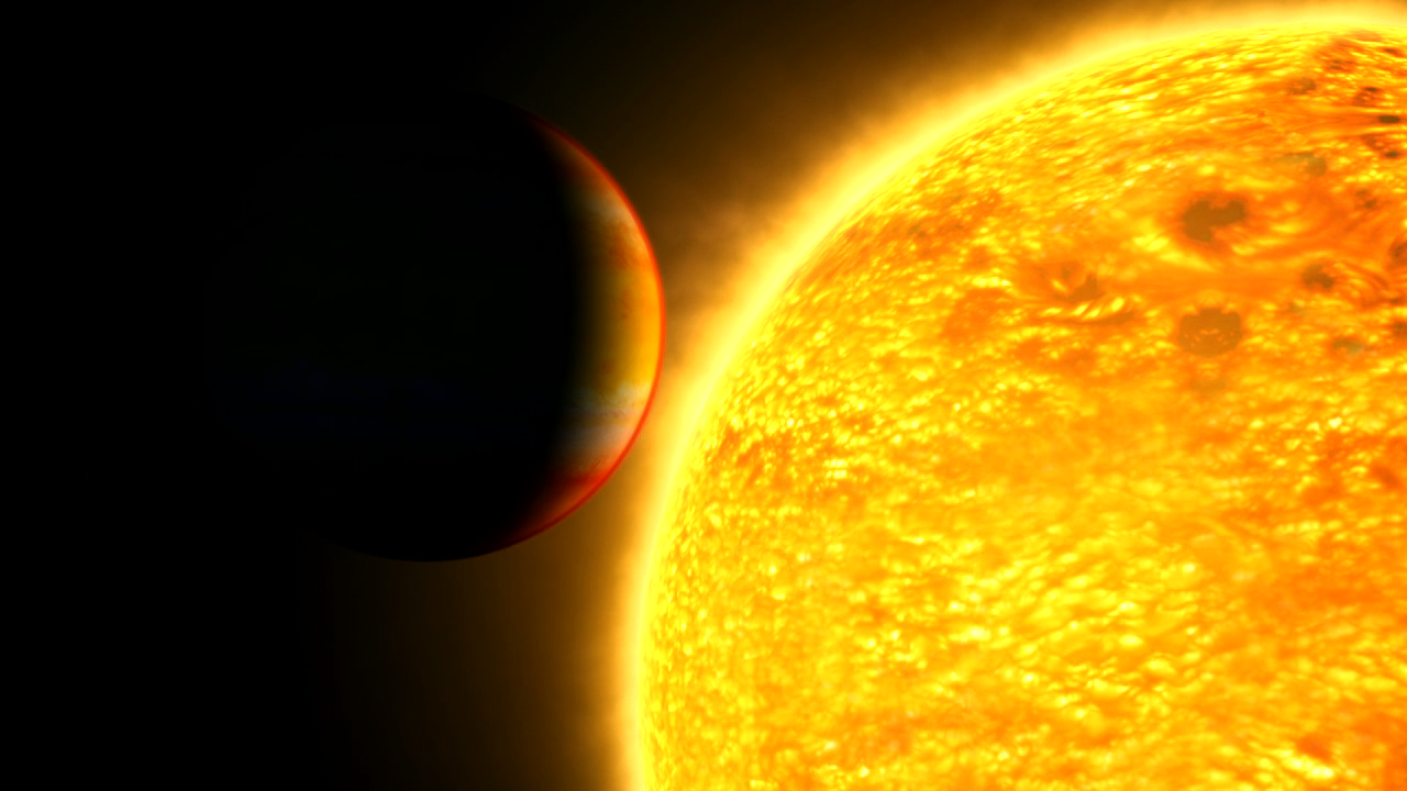 This illustration captures an exoplanet as it is about to cross in front of – or transit – its star.