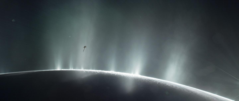 Illustration of Cassini flying through a plume on Enceladus