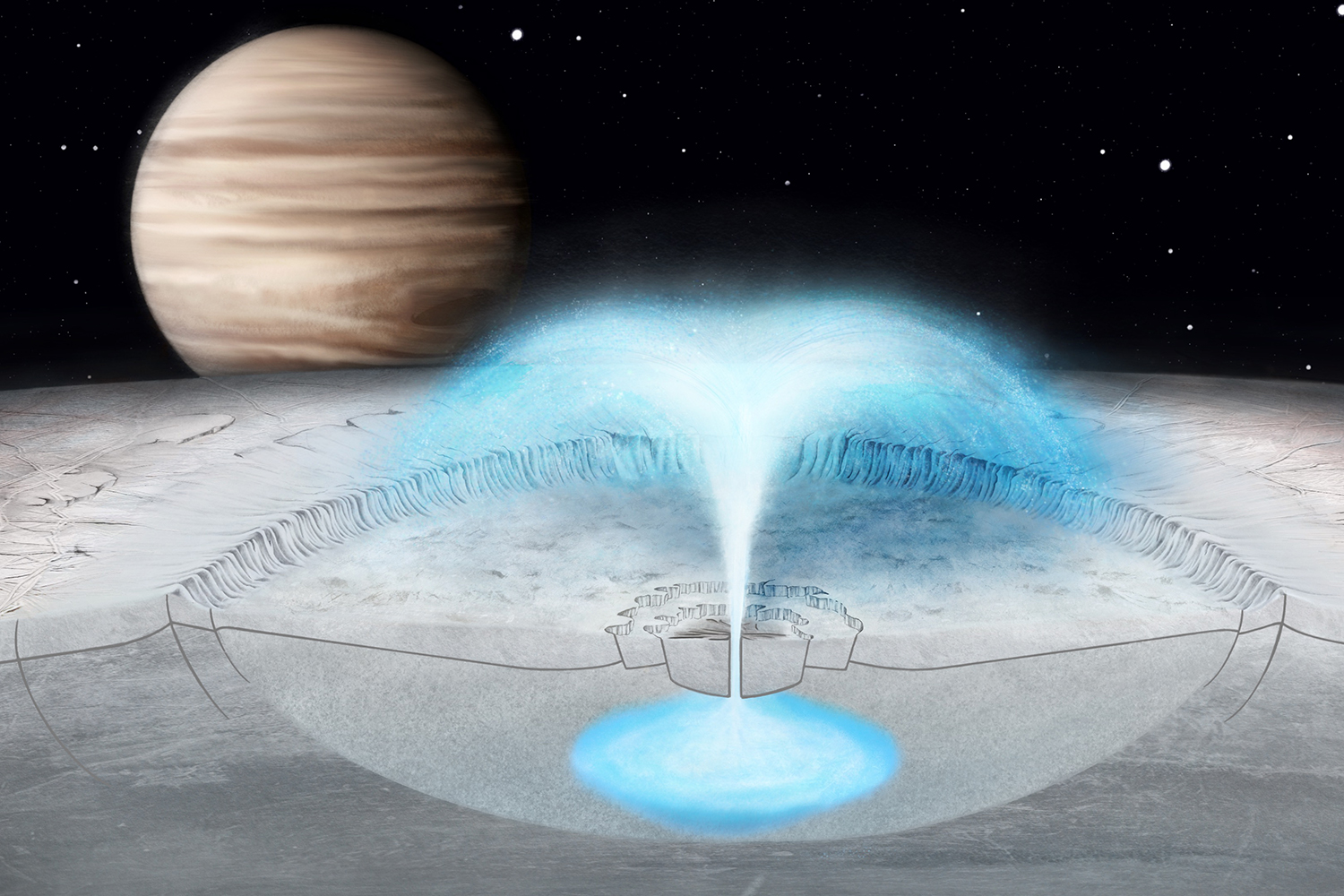 Artist's conception of a plume erupting on Jupiter's icy moon Europa