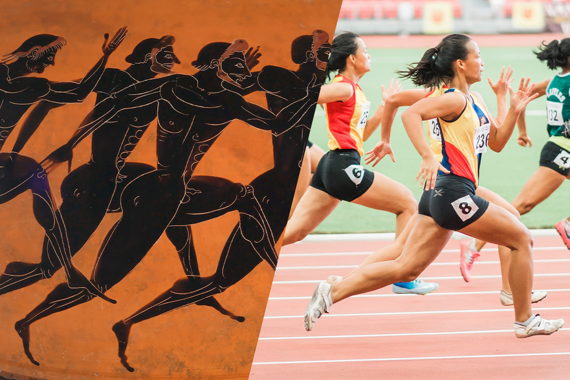 an illustration of people runnig in the ancient Olympics, alongside a photo of modern runners