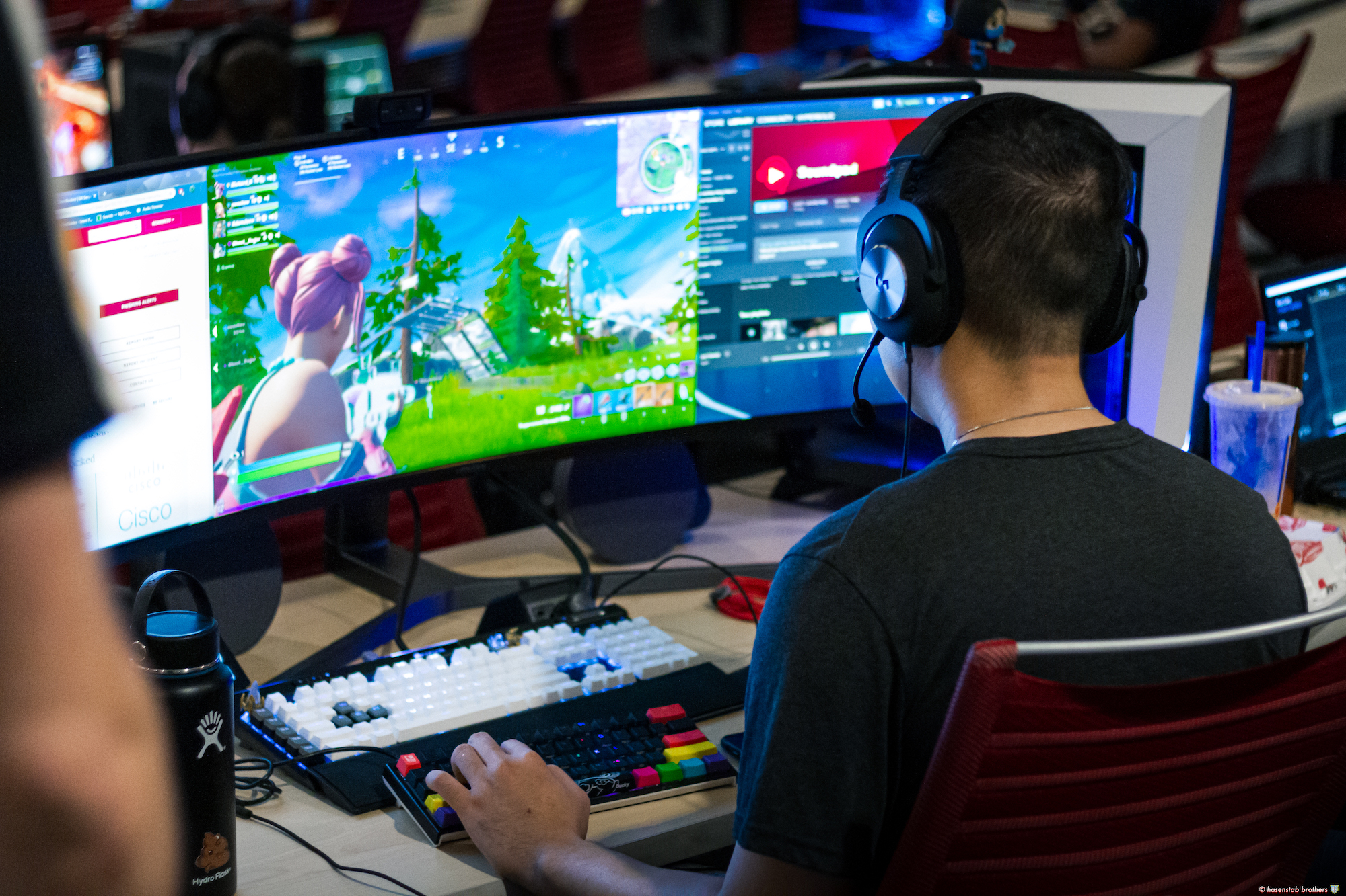 a person playing video games