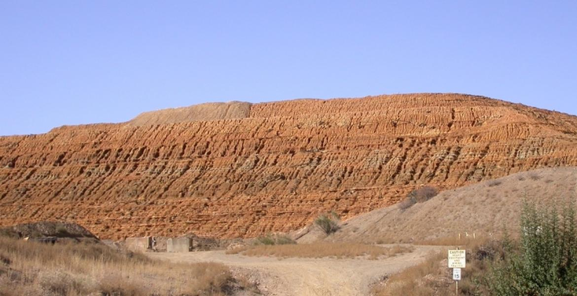 The front of the mine tailings pile at the Iron King Mine and Humboldt Smelter Superfund Site in Yavapai County.