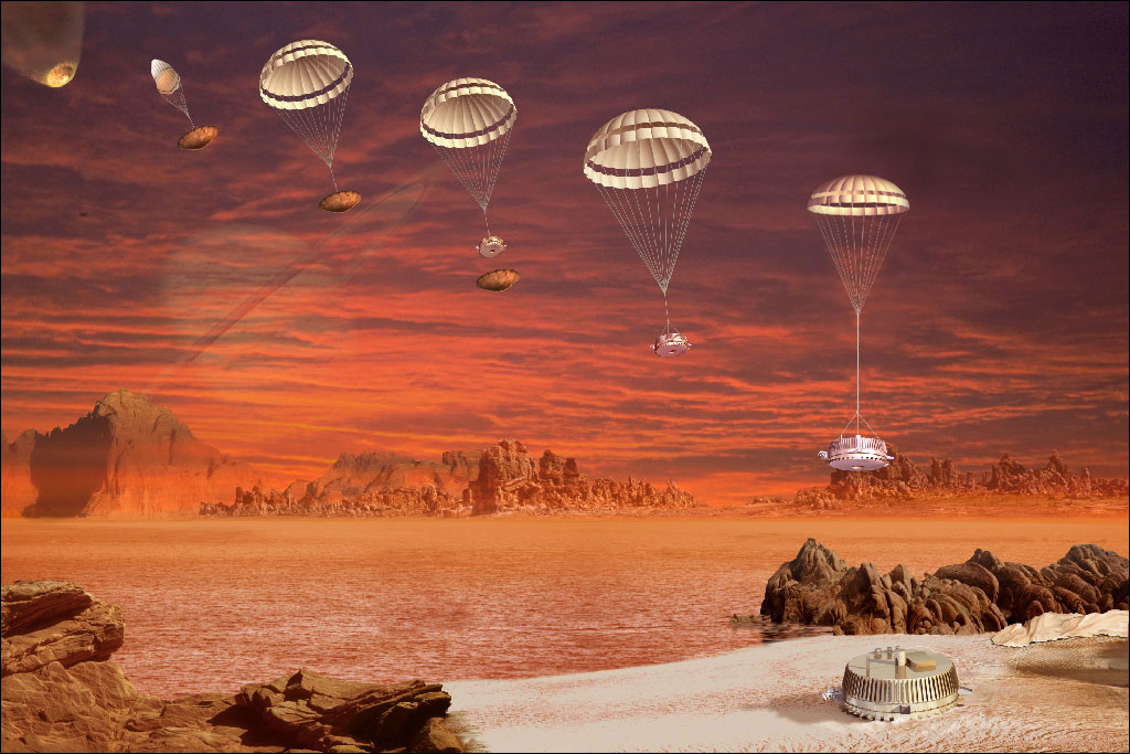 With Saturn faintly looming over Titan's hazy horizon, the Huygens probe parachutes onto the moon's surface in this artist's impression.