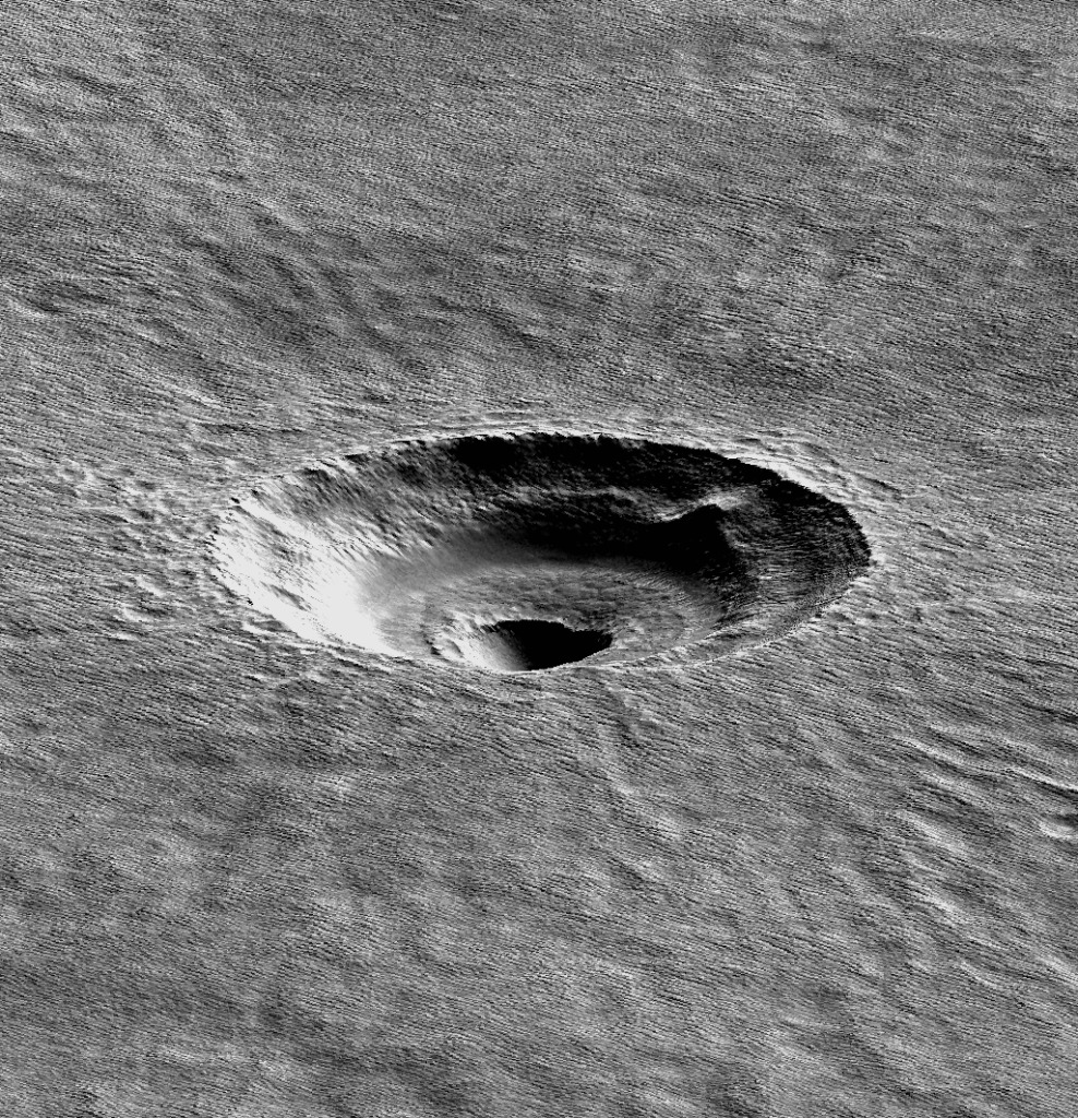 A digital terrain model of the crater that the UA's Ali Bramson investigated.