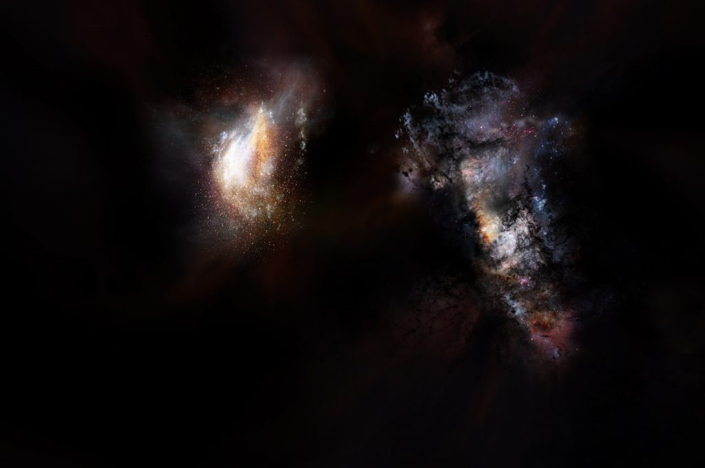 An artist's impression of a pair of galaxies from the very early universe