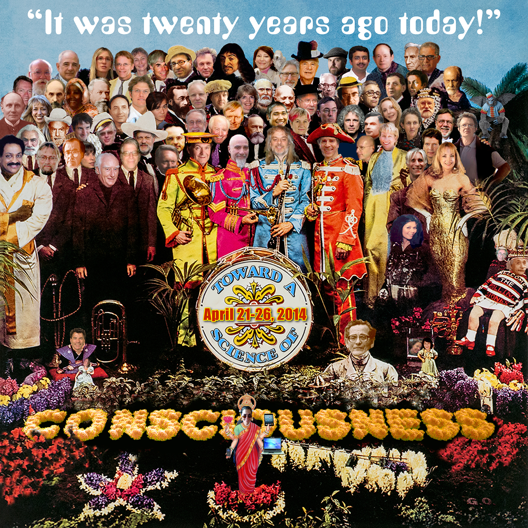 """Click on image to enlarge. The 20th anniversary Toward a Science of Consciousness 2014 conference logo is a rendition of The Beatles' """"Sgt. Pepper's Lonely Heart Club Band"""" album cover by Dave Cantrell, UA BioCommunications."""