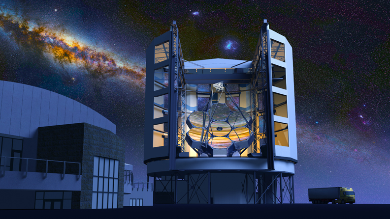 The Giant Magellan Telescope, against the southern Milky Way, as it will appear when it's completed.