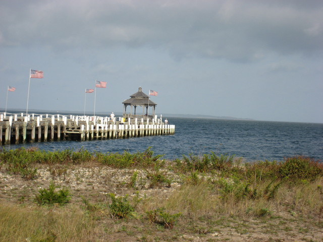 The tide gauge station in Montauk, New York, is located on the Rough Rider Condominium Pier, pictured here. The water level sensor and other monitoring equipment are located on the far side of the pier.