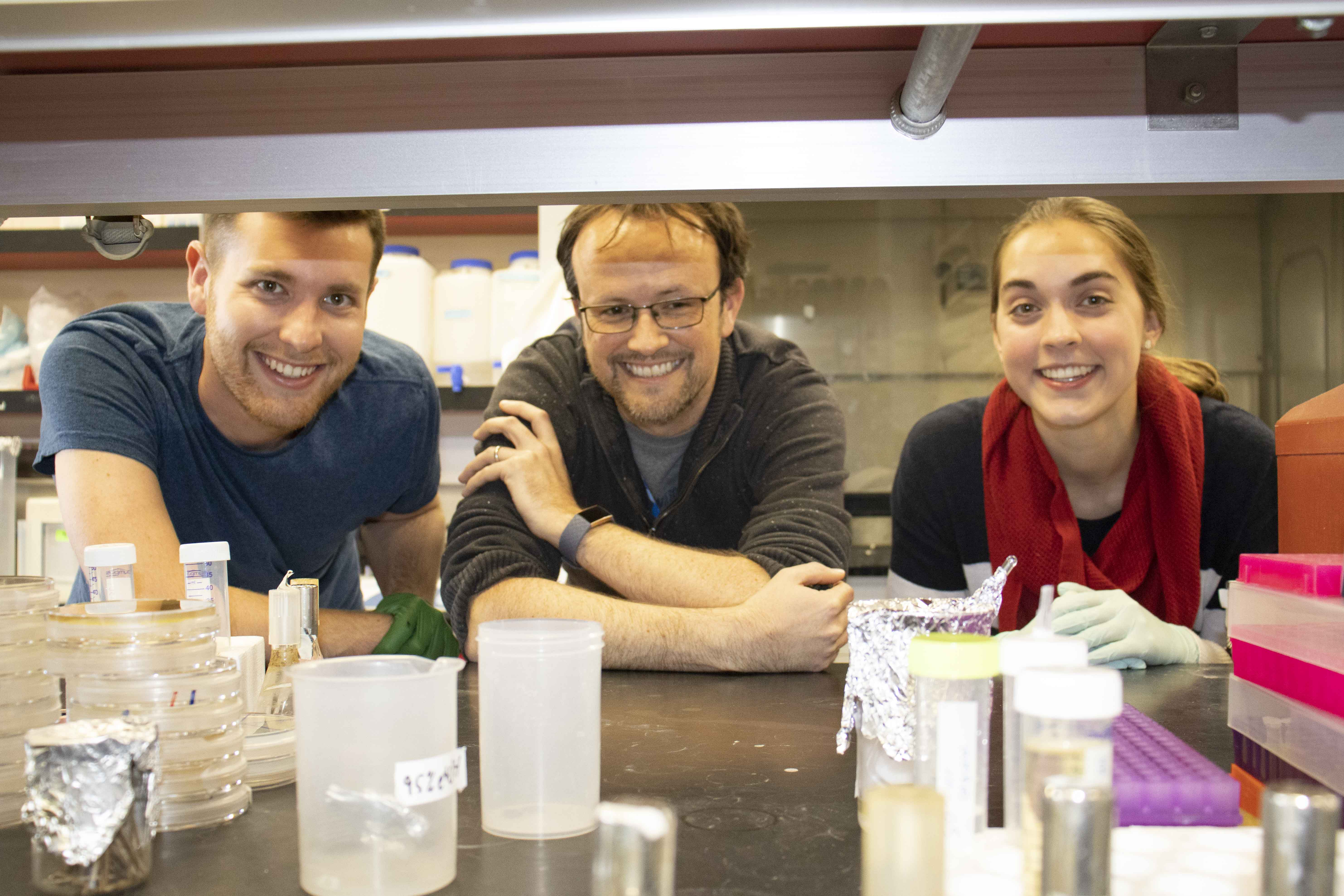 Graduate student Aaron Byrd, assistant professor of molecular and cellular biology and a BIO5 Institute member Ross Buchan and undergraduate senior Amanda Warner in the lab.