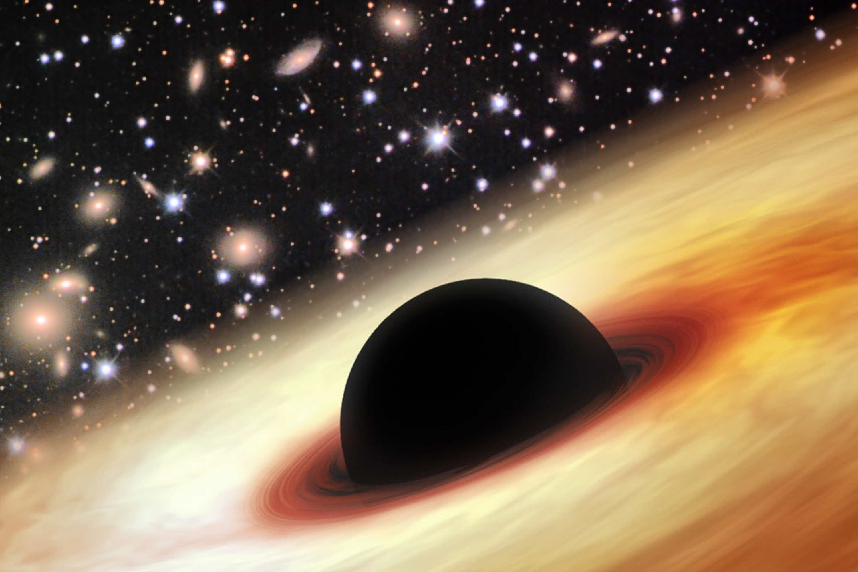 An artist's impression of a quasar with a supermassive black hole in the distant universe.