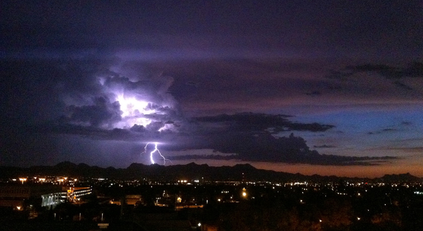 In the American Southwest, precipitation during the summer monsoon season provides a significant portion of the annual precipitation. Here lightning strikes over Southern Arizona's Tucson mountains during a 2010 monsoon thunderstorm.  Daniel Griffin/Unive