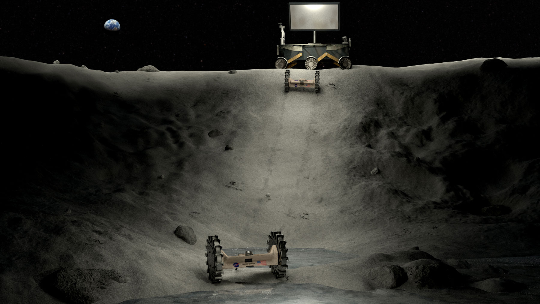 Illustration of power, lighting and roving concepts operating in a lunar crater.