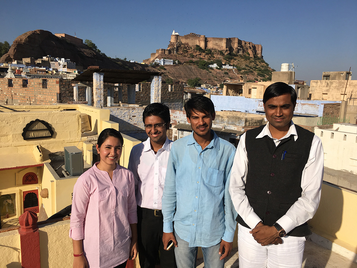 A journalist  with the news organization Rajasthan Patrika is pictured with law students from the Utthan Legal Aid and Service Organization, a nongovernmental organization in Jodhpur, India. The organization promotes use of the RTIA among college students