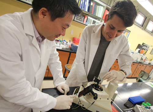 Jeong-Yeol Yoon and Dustin Harshman work on a device that can analyze pathogens in real time.