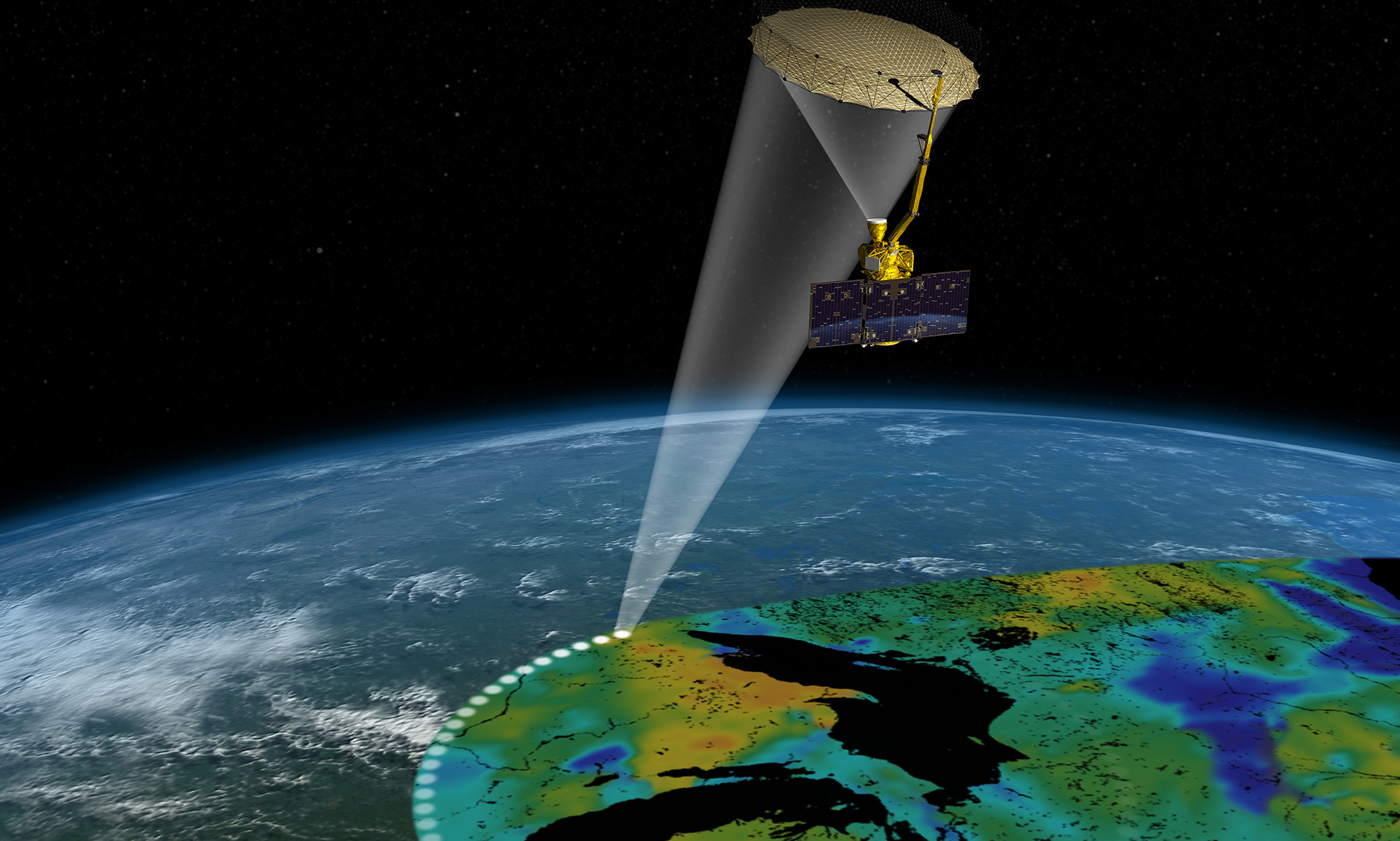 Artist's rendering of the Soil Moisture Active Passive satellite. The width of the region scanned on Earth's surface during each orbit is about 620 miles.