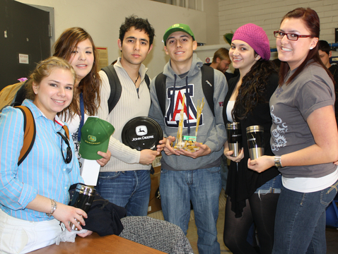 Students represent the UA chapter of Soiety of Hispanic Professional Engineers in a competition to design and build a tower made of dry spaghetti that holds water. (Photo credit: Beatriz Verdugo/UANews)