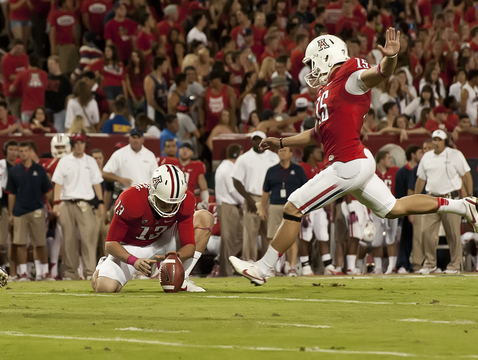 John Bonano kicks a field goal. (Photo courtesy of Arizona Athletics)