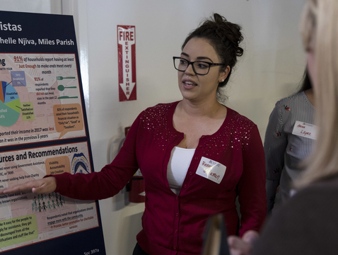 UA student Reneé Villaman explains findings from the Poverty in Tucson Field Workshop to community members.