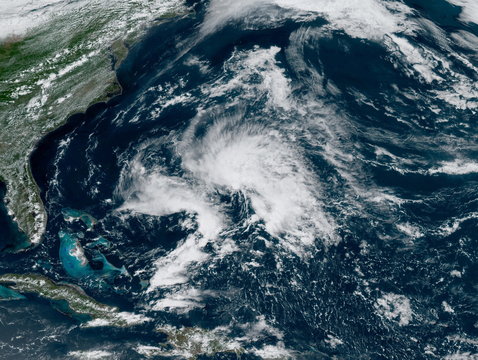 Subtropical Storm Andrea, which formed on the evening of May 20, is this year's first named storm. The UA forecasting model predicts a total of 16 named storms this year. (Image: NOAA)