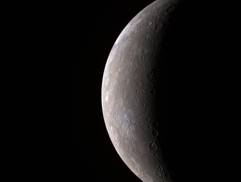 This image of Mercury was created using infrared, red and violet filters that capture wavelengths both visible and invisible to the human eye; the colors shown here are only slightly different from what the human eye would see. (Image credit: NASA/Johns Hopkins University APL/Carnegie Institute of Washington)