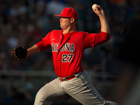 UA pitcher JC Cloney was impossible for Coastal Carolina to solve in Monday's 3-0 victory for the Wildcats. (Photo: Stan Liu/Arizona Athletics)