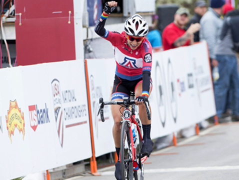 UA chemical and environmental engineering graduate Erica Clevenger wins the Women's Division Club Road Race at the 2017 USA Cycling Collegiate and Para-Cycling Road National Championships. (Photo: Casey B. Gibson)