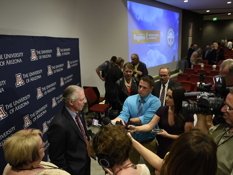 Dr. Robert C. Robbins takes questions from the media after Wednesday's community forum on campus. (Photo: Jacob Chinn)