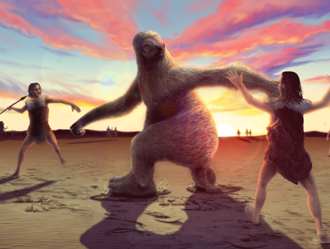 Artist's rendering of a giant ground sloth being hunted by humans. Recently discovered footprints provide the first evidence that this scenario may have occurred in North America during the late Ice Age. (Illustration: Alex McClelland/Bournemouth University)