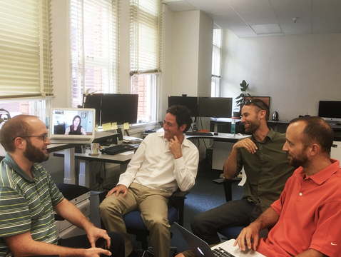 The Filmstacker development team (from left): Craig Boesewetter. Kimberly Daly (on screen), Matt Rahr, Cody Sheehy and J.D. Gibbs. (Photo courtesy of Cody Sheehy)