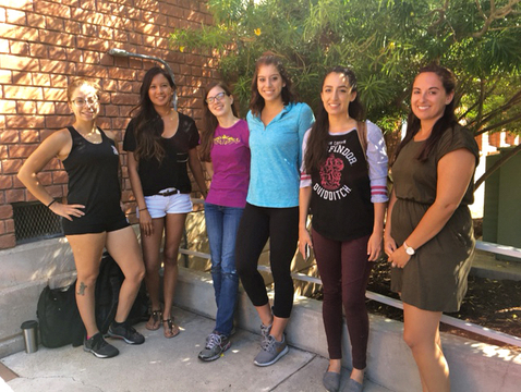 Six of the students in the inaugural Animal and Biomedical Industries master's degree program (from left): Alex Travis, Santana Nez, Alyssa Pires, Sarah Lindquist, Elizabeth Carranza and Christina Agosto. (Photo: Susan McGinley)