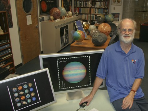 Erich Karkoschka in the Space Imagery Center at the UA's Lunar and Planetary Laboratory. (Photo: Maria Schuchardt)