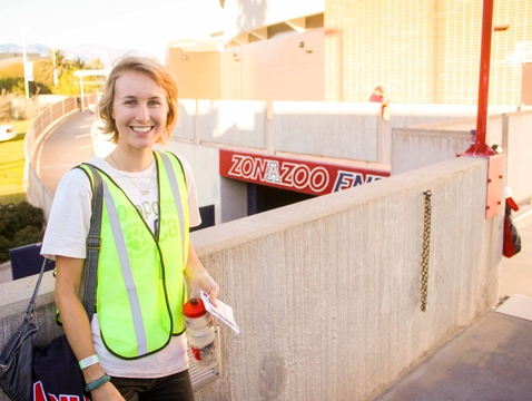 Shelby Hoglund stands outside the McKale Center prior to the zero-waste UA men's basketball game last March. The first zero-waste football game will take place at Arizona Stadium on Saturday. (Photo: James Garlant)