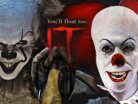 "Bill Skarsgard (left) plays the menacing clown Pennywise in the 2017 big-screen version of ""IT,"" 27 years after Tim Curry (right) first tackled the role for the 1990 TV miniseries. Both adaptations are based on Stephen King's 1986 horror novel. (UANews illustration by Bob Demers)"
