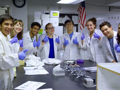 2018 KEYS interns pose with their successful protein gel during biotechnology training. (Photo: Deanna Sanchez)