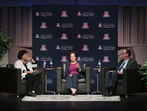 Professor Toni Massaro (left) and College of Law Dean Marc Miller (right) moderated the discussion with Supreme Court Justice Elena Kagan (center) at the UA. (Photo: David Sanders/UA College of Law)