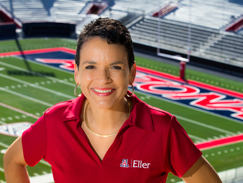Lisa Ordóñez of the Eller College of Management turned her passion for football into a research study about the effects of rivalry on risk-taking. (Photo: Bob Demers/UA News)