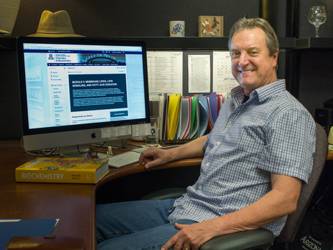 """Roger Miesfeld: """"Now my in-class kids are getting a course that's better than my previous in-class, and it's because I learned something by doing it online."""" (Photo: Stacy Pigott/UANews)"""