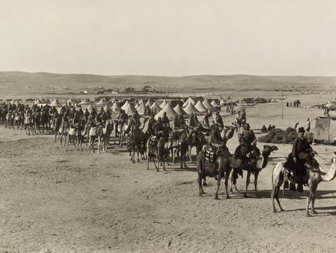 Ottoman camel corps at Beersheba in 1915 (Photo courtesy of the Library of Congress, licensed under Public Domain via Wikimedia Commons)