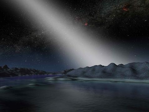 An artist's impression of exo-zodiacal light viewed on an alien world (Image: NASA/JPL-Caltech)
