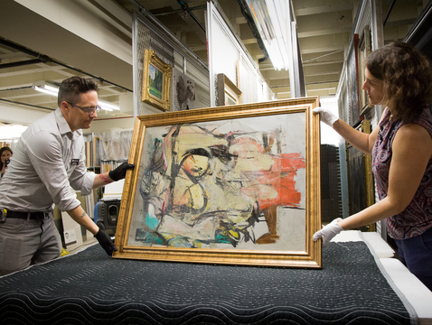 "The return of the Willem de Kooning painting ""Woman-Ochre"" to its place in the abstract expressionist collection at the UA Museum of Art was an unexpected highlight of 2017. (Photo: Bob Demers/UANews)"