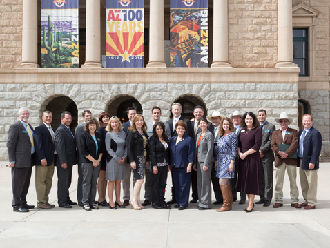 Members of Project CENTRL Class 22, including Drew John (far left), Sine Kerr (center) and Jim Parks (second row, second from right), met with CENTRL alumni serving in the Arizona Legislature in 2014, including Frank Pratt (far right) and Gail Griffin (sixth from right).