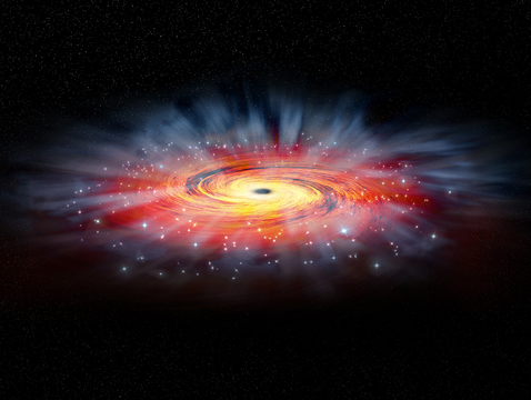 A black hole 4 million times more massive than our sun, called Sagittarius A* and pictured here in an artist's impression, is at the center of our Milky Way. (Image: NASA)
