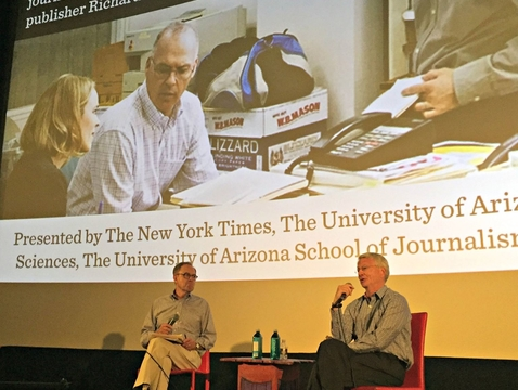 "UA journalism faculty member William Schmidt (left) interviews UA alumnus Richard Gilman about the Oscar-winning film ""Spotlight."" Gilman was publisher of The Boston Globe when it won a Pulitzer Prize for uncovering abuse by Catholic priests. The movie is based on the Globe's reporting."