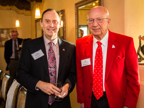 Shane Burgess (left) is the first holder of the Charles-Sander Endowed Dean's Chair at the UA, made possible by a gift from College of Agriculture and Life Sciences alumnus Robert F. Charles Jr. (right) and Charles' wife, Julia. (Photo: Molly Condit)