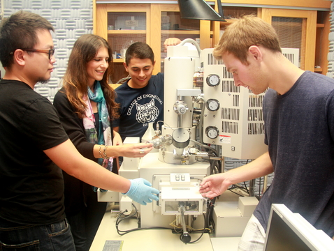 From left: Postdoctoral researcher Haokun Deng, associate professor of civil engineering and engineering mechanics Katerina Aifantis, and mechanical engineering undergraduates Fabian Medina and Andrew Barr prepare materials for electron microscopy in the lab.