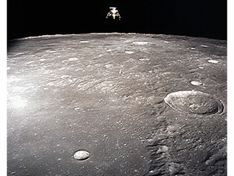 """This image of the Apollo 12 lunar module was taken from the command module during the 1969 mission. Part of an Apollo Saturn IV booster rocket may have just become Earth's 2nd """"moon."""" (NASA photo)"""